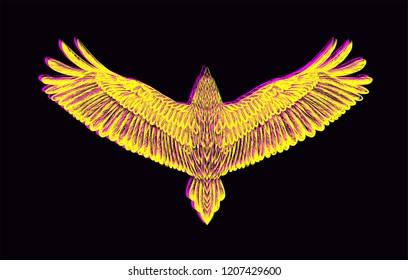Hand drawn falcon with glitch effect.Sketch eagle, condor, raven,owl with chromatic aberration. Vector isolated illustration.Glitch art.Print for t shirt and tattoo art.Wild animal.Pop art.Wild animal