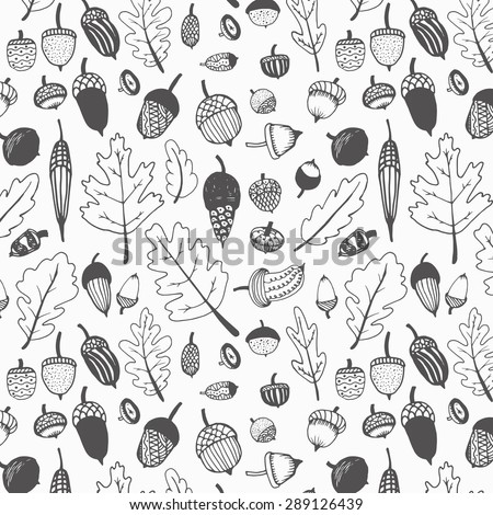 Hand drawn fall acorns and oak leaves background pattern.Black and white.