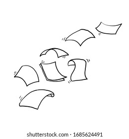 hand drawn Falling paper sheets. Flying papers pages, white sheet documents and blank document page on wind. Fly scattered notes, empty chaotic paperwork.doodle