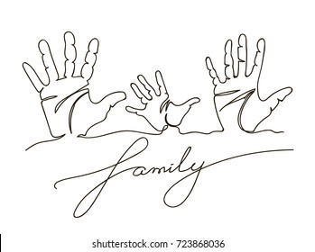 Hand drawn Family handprints vector illustration. Family handprints of mom, dad, and child. Social illustration. Continuous line drawing.