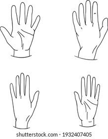 Hand drawn family hands vector illustration. Line art female, male and baby hands. Social illustration. Concept for logo, card, banner, poster, wall art, flyer. Abstract family design