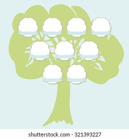 Hand drawn family tree with hanging labels. Green silhouette of the oak isolated on blue background. Vector illustration