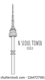 Hand drawn famous landmark vector of N seoul tower(Namsan Tower),Namsan mountain, South Korea, isolated vector illustration