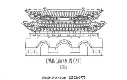 Hand drawn famous landmark vector of Gwanghwamun gate,the main and largest gate of Gyeongbokgung Palace,Seoul,South Korea, isolated vector illustration
