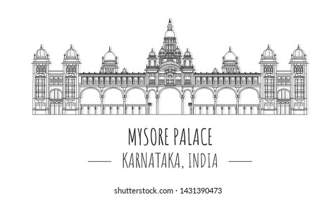 Hand drawn famous landmark vector of mysore palace, Karnataka, India,isolated vector illustration.Business Travel and Tourism Concept