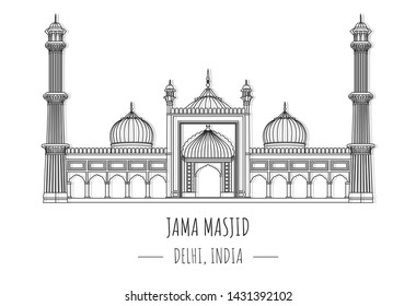 Hand drawn famous landmark vector of jama masjid, Delhi, India,isolated vector illustration.Business Travel and Tourism Concept