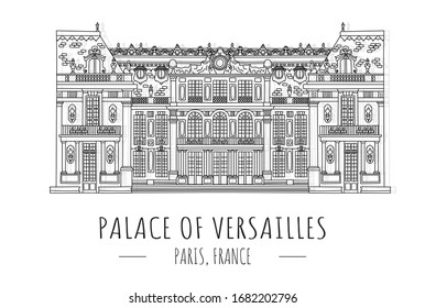 Hand drawn famous landmark vector of Palace of Versailles, Versailles, France,isolated vector illustration.Business Travel and Tourism Concept