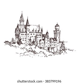 Hand drawn famous old Castle, Germany. Vector illustration.