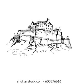 Hand drawn famous old Castle, Edinburgh Castle. Vector illustration.