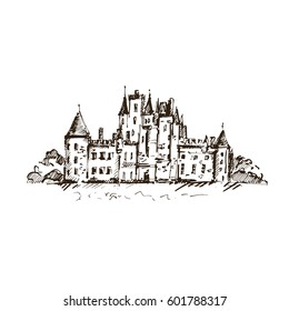 Hand drawn famous old Castle, Scotland. Vector illustration.