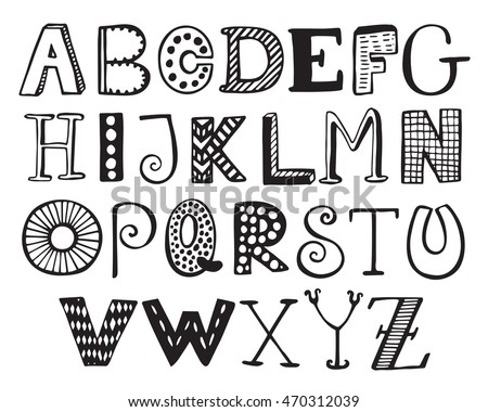 Hand Drawn Fancy Alphabet Funny Doodle Stock Vector Royalty Free