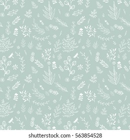 Hand drawn fancy herb and flower pattern. Vector background
