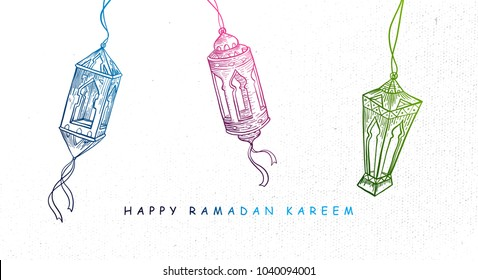 Hand Drawn Fanous Lantern for Ramadan Kareem Celebration. Vector eps.10