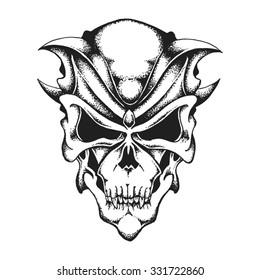 Hand drawn fantastic skull. Vector illustration