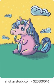 Hand drawn fantasy cartoon unicorn, cute doodle. Funny sketch vector background for your creative ideas.
