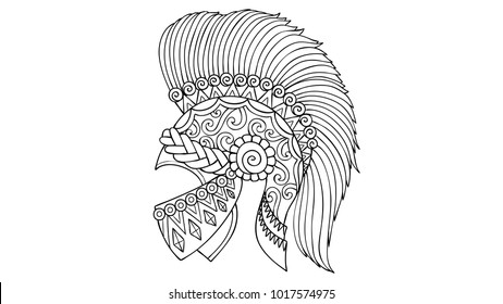 Hand drawn fantasy historic leonidas helmet on white background for design element and coloring book page for both kids and adults.Vector illustration