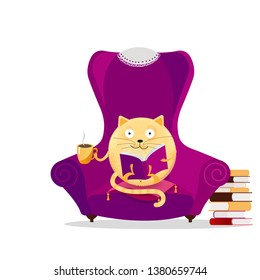 Hand drawn fantasy round cat sitting in big purple armchair and reading book. Relaxing home reading concept. Cute kitty with glasses drinking cup of tea. Vector flat cartoon textured illustration
