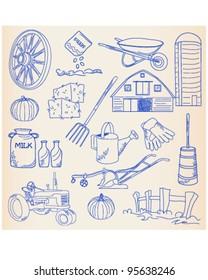 Hand Drawn Farm Icon Set         vector eps10