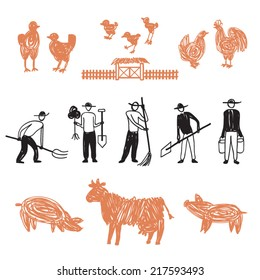 Hand drawn farm workers at barnyard, manual workers, vector doodle illustration