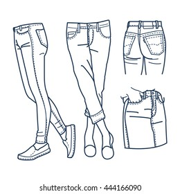 Hand drawn fashion Collection of girl's jeans outline. Woman jeans vector illustration for your design.