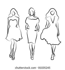hand drawn fashion girls