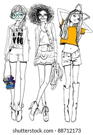 hand drawn fashion girls