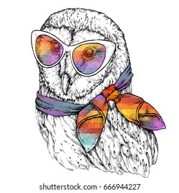 Hand Drawn Fashion Illustration of Barn Owl with sunglasses. Vector illustration