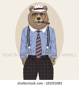 Hand drawn fashion illustration of bear in fedora hat with cigar
