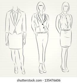 hand drawn Fashion illustration business women
