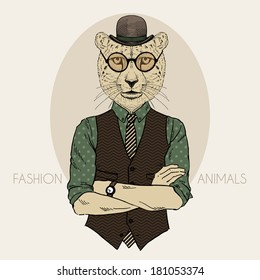 Hand drawn fashion illustration of cheetah hipster in bowler hat