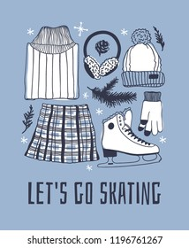 Hand drawn fashion illustration. Creative ink art work. Actual cozy vector drawing Ice Skating. Big Winter sport set with figure skater wear and racing skates, accessoires, fur headphones and other
