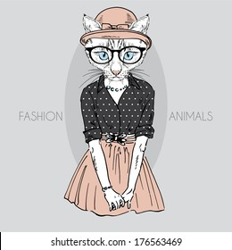 Hand drawn fashion illustration of cute cat girl in colors