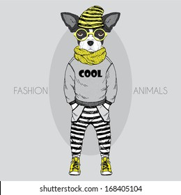 Hand Drawn Fashion Illustration of dressed up French Bulldog baby, in colors