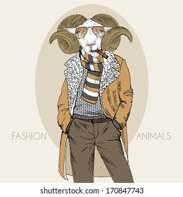 Hand drawn fashion illustration of dressed up mutton