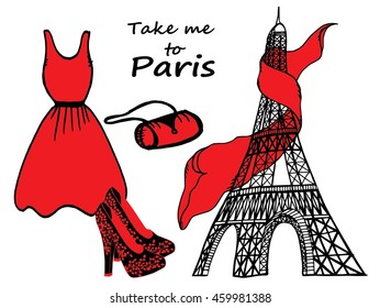 Hand drawn fashion illustration, Eiffel Tower, dress, shoes and handbag