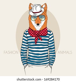 Hand Drawn  fashion illustration of Fox Hipster in colors