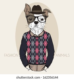 Hand Drawn Fashion Illustration of French Bulldog Hipster in colors
