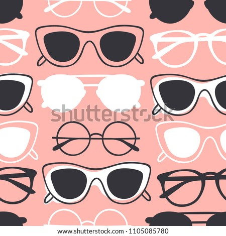 5dd1cbea6585b Hand drawn fashion illustration glasses. Creative ink art work. Actual  vector seamless pattern with sunglasses - Vector