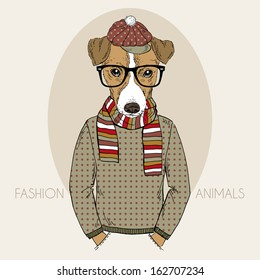 Hand Drawn Fashion Illustration of Jack Russel Terrier Hipster in colors