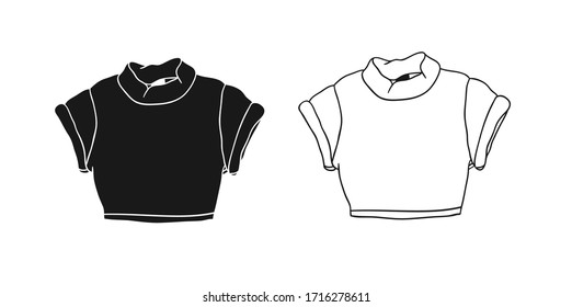 Hand Drawn Fashion Illustration Season Wear. Creative ink art work Summer Outfit Element. Actual vector drawing crop top. Black contour object on white background isolated
