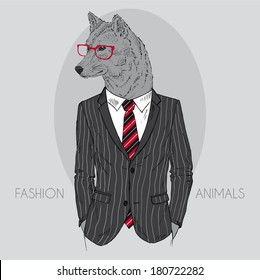 Hand drawn fashion illustration of wolf dressed up in office suit