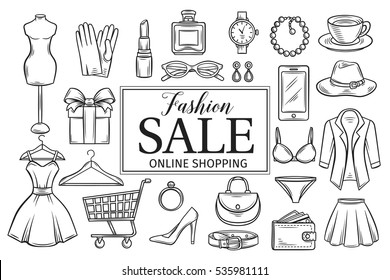 Hand drawn fashion online shop icons set. Decorative icons dress, lipstick, perfume, cart, shoe, clothing, purse, gift, hat, watches and glasses. Vector illustration in old ink style