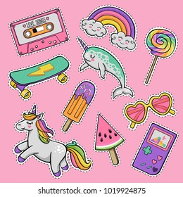 Hand drawn fashion patch badges with heart sunglasses, unicorn, rainbow lollipop, cassette tape, popsicle, skateboard, cartoon cute narwhal, vintage portable game console in 80s-90s pop art style
