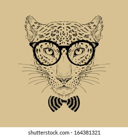 Hand Drawn Fashion Portrait of Leopard Hipster isolated on background