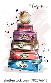 Hand drawn fashion set with suitcases and bags. Stylish bags. Sketch.