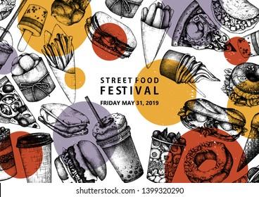 Hand drawn fast food design. Vintage background for restaurant, cafe or food truck menu. Engraved style elements - burgers, ice cream, milkshake, fries, pizza drawings. Fastfood menu template.