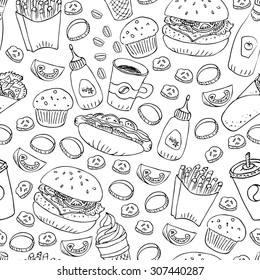 Hand drawn fast food doodle seamless pattern. Black and white ink illustration. Hot dog, burger, fries, roll, soda, coffee and cupcake for menu and web design and package.