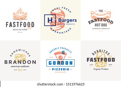 Hand drawn fast food logos and labels with modern vintage typography retro style set vector illustration. Burger, pizza and hot dog silhouettes for cafe packaging and restaurant menu.