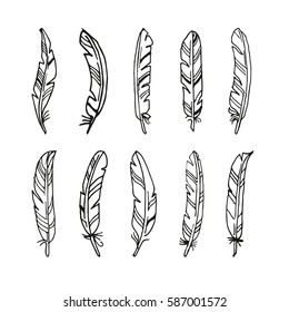 Hand drawn feather set. Native American Indian style. Vector llustration isolated. Ethnic design. May be used at coloring book for adults design.