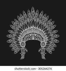 Hand Drawn Feathered War bonnet in zentangle style, high datailed headdress for Indian Chief. American boho spirit. Hand drawn white sketch vector illustration for tattoos.
